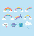 rainbows planets shooting star with clouds sky vector image vector image