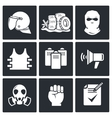 Riots in the street icon collection vector image vector image