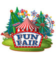 scene with many rides at fun fair on white vector image vector image