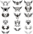 set of 12 grunge shields vector image vector image