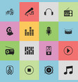 set of 16 editable audio icons includes symbols vector image