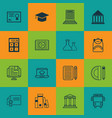 Set of 16 school icons includes home work vector image