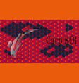 set of carp koi on background of oriental pattern vector image vector image