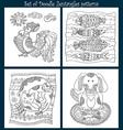 Set of zen tangles with animals vector image