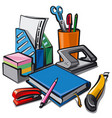 set stationery for studying vector image