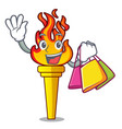 shopping torch character cartoon style vector image vector image