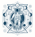 sketch of a tattoo with astronaut in a vector image vector image