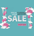 summer sale banner with paper cut lotus flowers vector image vector image