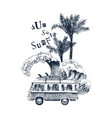 summer time background with retro bus palms vector image