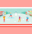 wintertime and skiing people vector image vector image