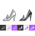 women shoes simple black line icon vector image vector image