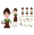 young beautiful female barista in uniform vector image vector image