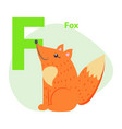 zoo abc letter with cute fox cartoon vector image vector image