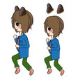 short hair girl with cat ears running vector image