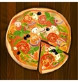 pizza with a slice vector image