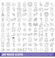 100 wage icons set outline style vector image