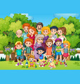 a big family at garden vector image vector image