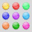 Avatar icon sign symbol on nine wavy colourful vector image