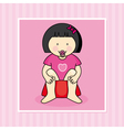 Baby girl sitting on the potti vector image