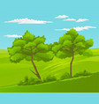 beautiful landscape with green hills and trees vector image