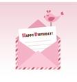 Birthday pink envelope with bird vector image