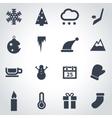 black winter icon set vector image vector image