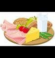 breakfast on wooden plank vector image vector image