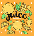 bright sticker emblem and logo for citrus fruit vector image vector image