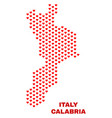 calabria region map - mosaic of valentine hearts vector image vector image