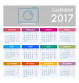 Calendar for 2017 on White Background vector image