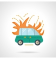 Car in flame flat color design icon vector image vector image