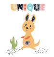 card with cute kangaroo isolated on white vector image