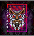 cat head robot esport mascot logo design vector image vector image