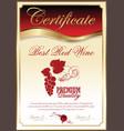 certificate - best red wine vector image vector image