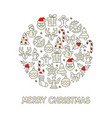 christmas color icon set round vector image