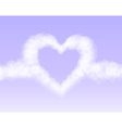 Clouds heart on pink romantic sky background vector image