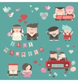 Collection of just married couples vector image vector image