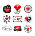 cute black and red heart love valentine emblem set vector image