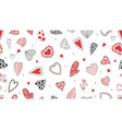 doodle hearts pattern hand drawn decorative love vector image