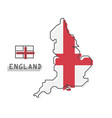 england map and flag modern simple line cartoon vector image