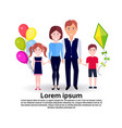father mother daughter balloons son kite full vector image