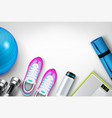 fitness background realistic composition vector image vector image