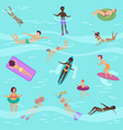 flat cartoon people in sea or ocean vector image vector image