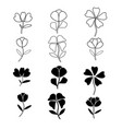 flowers icon set on white background vector image vector image