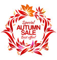 hand drawing autumn floral label with sales vector image