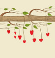 hanging hearts decorating a tree trunk background vector image