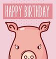 happy birthday card with animal cartoon vector image