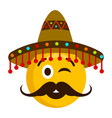 happy emoji with a mexican hat vector image vector image