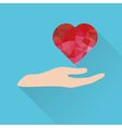 heart over hand icon vector image vector image