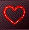 heart-shaped bright red neon frame template on vector image vector image